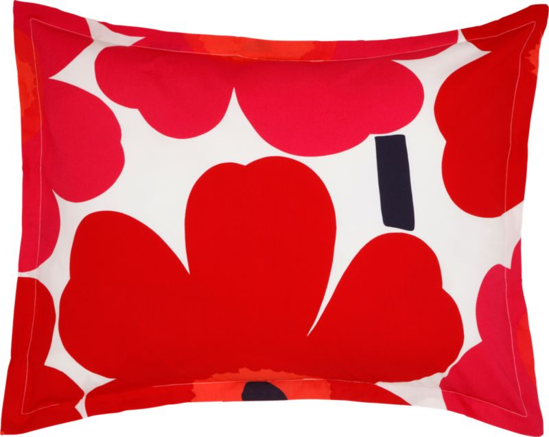 """Designed in 1964 by Maija Isola, the Unikko (""""poppy"""") design has been the most popular Marimekko print since its introduction. Challenging the common notion of decorative florals, Unikko broke from tradition with its creative pop art interpretation in bold, simplified pattern and bright color. Reproduced in infinite color combinations over its 47-year history, the pattern remains current while symbolizing the free spirit of its designer and those who admire it. Sham is tailored with a 1"""" flange and generous overlapping back closure. Bed pillows also available.<br /><br /><NEWTAG/><ul><li>Pattern designed by Maija Isola; 1964</li><li>100% cotton percale</li><li>300-thread-count</li><li>Machine wash cold</li></ul>"""