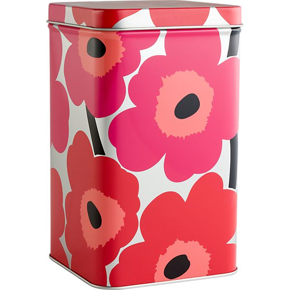 Marimekko Unikko Tall Red and Silver Tin Box