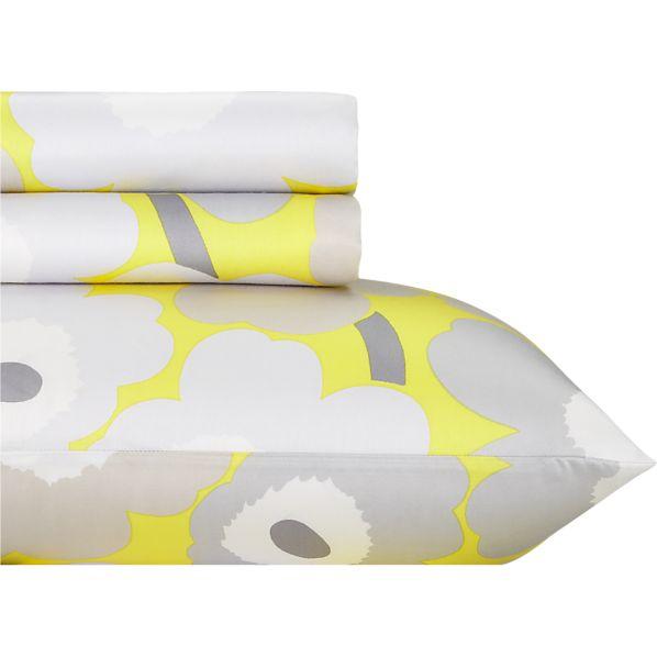Marimekko Pieni Unikko Yellow Twin Extra Long Sheet Set