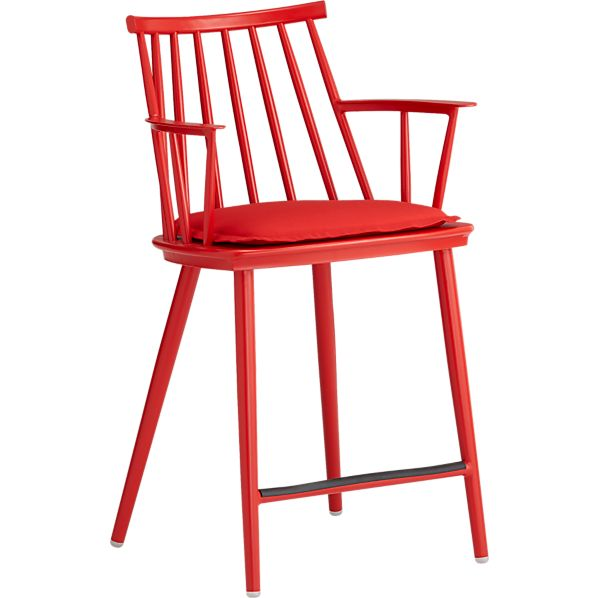"""Union Red 24"""" Counter Stool with Sunbrella ® Red Ribbon Cushion"""
