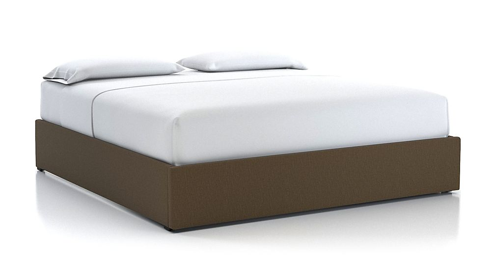 King Upholstered Gas-Lift Storage Bed Base Bark - Image 1 of 5