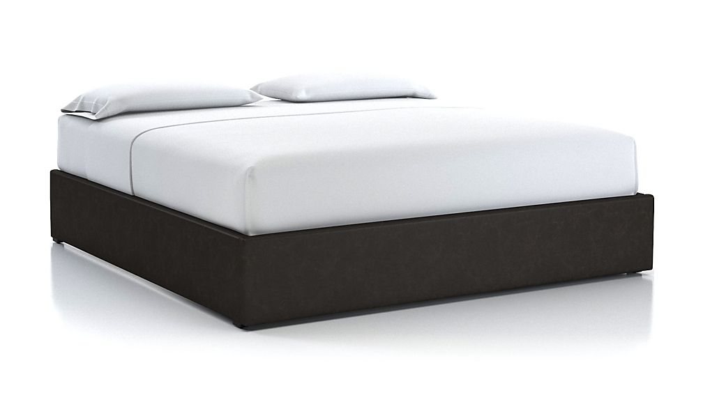 King Upholstered Gas-Lift Storage Bed Base Espresso Faux Leather - Image 1 of 5
