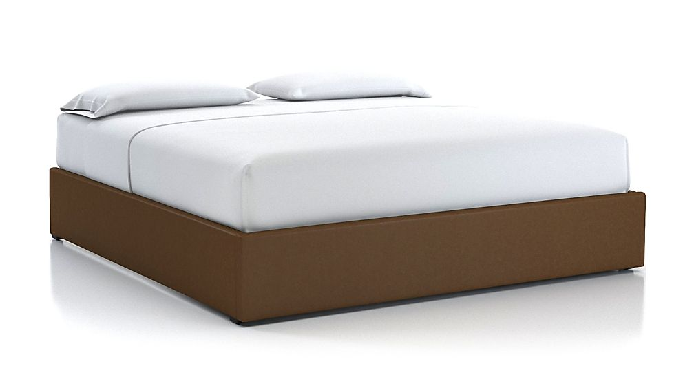 King Upholstered Gas-Lift Storage Bed Base Saddle Faux Leather - Image 1 of 5