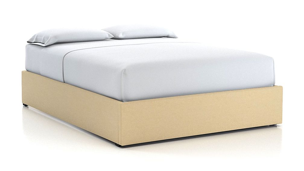 80d0f4c50f2e Queen Upholstered Gas-Lift Storage Bed Base Chalk + Reviews | Crate and  Barrel