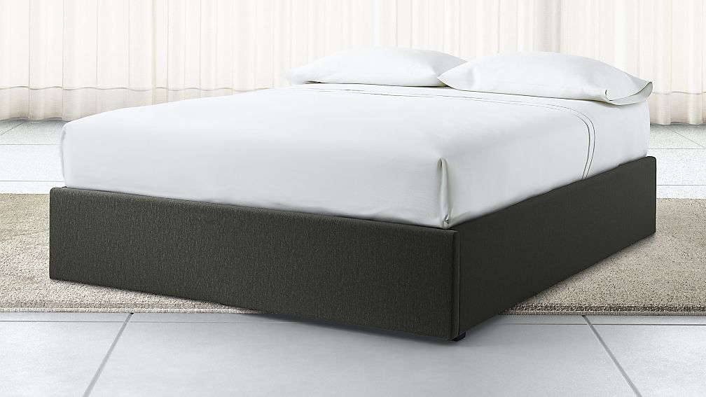 Queen Upholstered Gas Lift Storage Bed Base Fog Crate