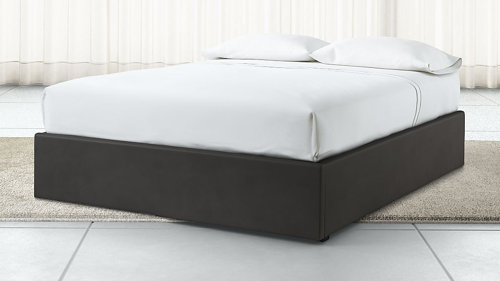 Queen Upholstered Gas-Lift Storage Bed Base Grey Faux Leather - Image 1 of 6