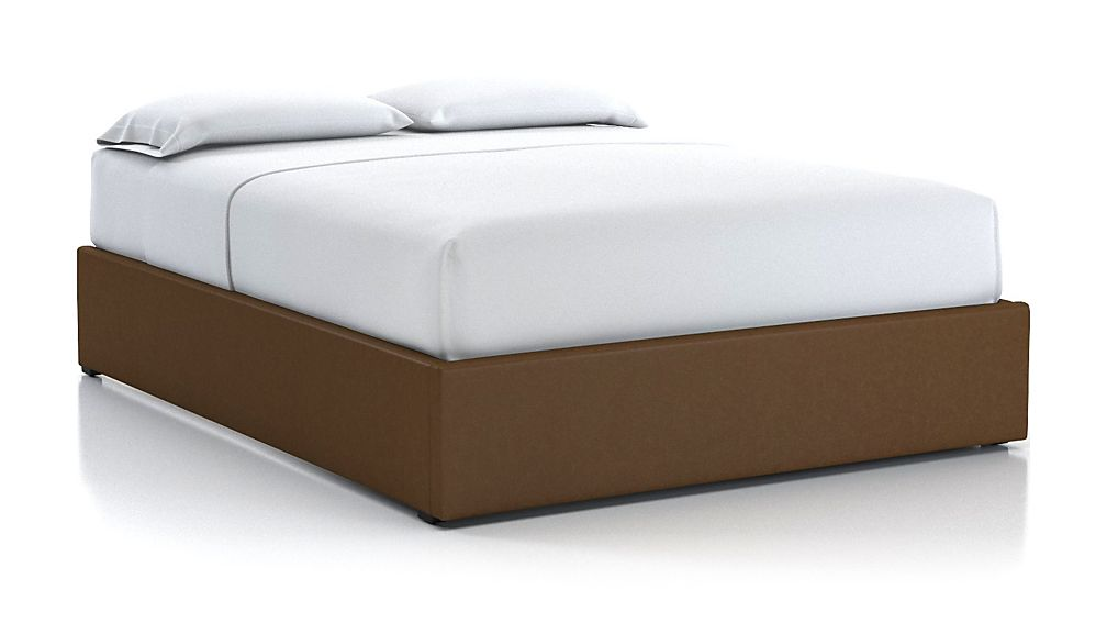Queen Upholstered Gas-Lift Storage Bed Base Saddle Faux Leather - Image 1 of 5