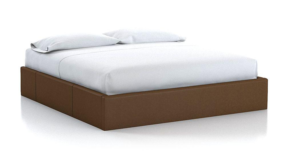 King Upholstered Storage Base Saddle Faux Leather - Image 1 of 2