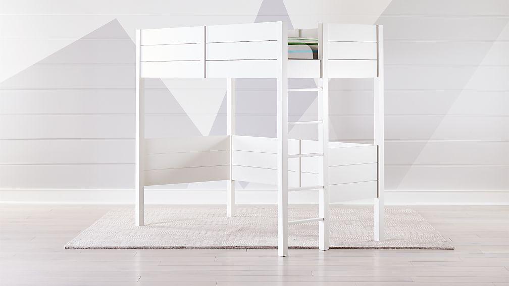 Uptown White Loft Bed | Crate and Barrel on white contemporary, white townhouse, white flex, white ranch, white land, white lobby, white condominium, white garage, white hardwood floors, white triplex,