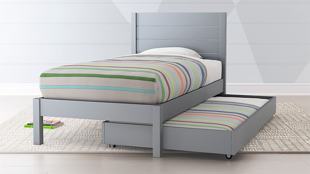 Uptown Grey Trundle Bed + Reviews | Crate and Barrel