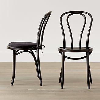 wooden dining room chairs. Vienna Black Wood Dining Chair and Cushion Room Chairs Kitchen  Crate Barrel