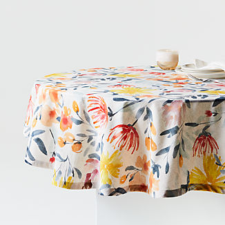 "Vale 60"" Round Floral Tablecloth"