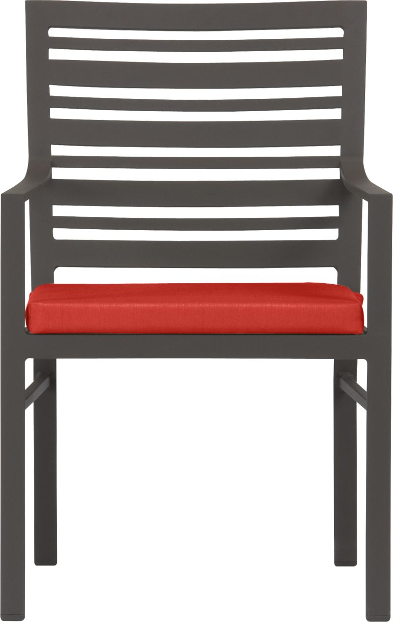 Transitional seating for easy outdoor dining. Comfortable companion chair features a stylish design in durable yet lightweight extruded aluminum. Slatted back relaxes at a modern angle, inviting leisurely dining and conversation. Smooth, rustproof bronze powdercoat finish stands up to the elements. Cushion is covered in fade- and mildew-resistant Sunbrella acrylic in spicy caliente. Fabric tab fasteners hold cushion in place. Valencia lounge collection also available.<br /><br /><NEWTAG/><ul><li>Rustproof extruded aluminum</li><li>Bronze powdercoat finish</li><li>Cushion cover is fade- and mildew-resistant Sunbrella acrylic</li><li>Polyfoam insert</li><li>Spot clean cushion</li></ul>