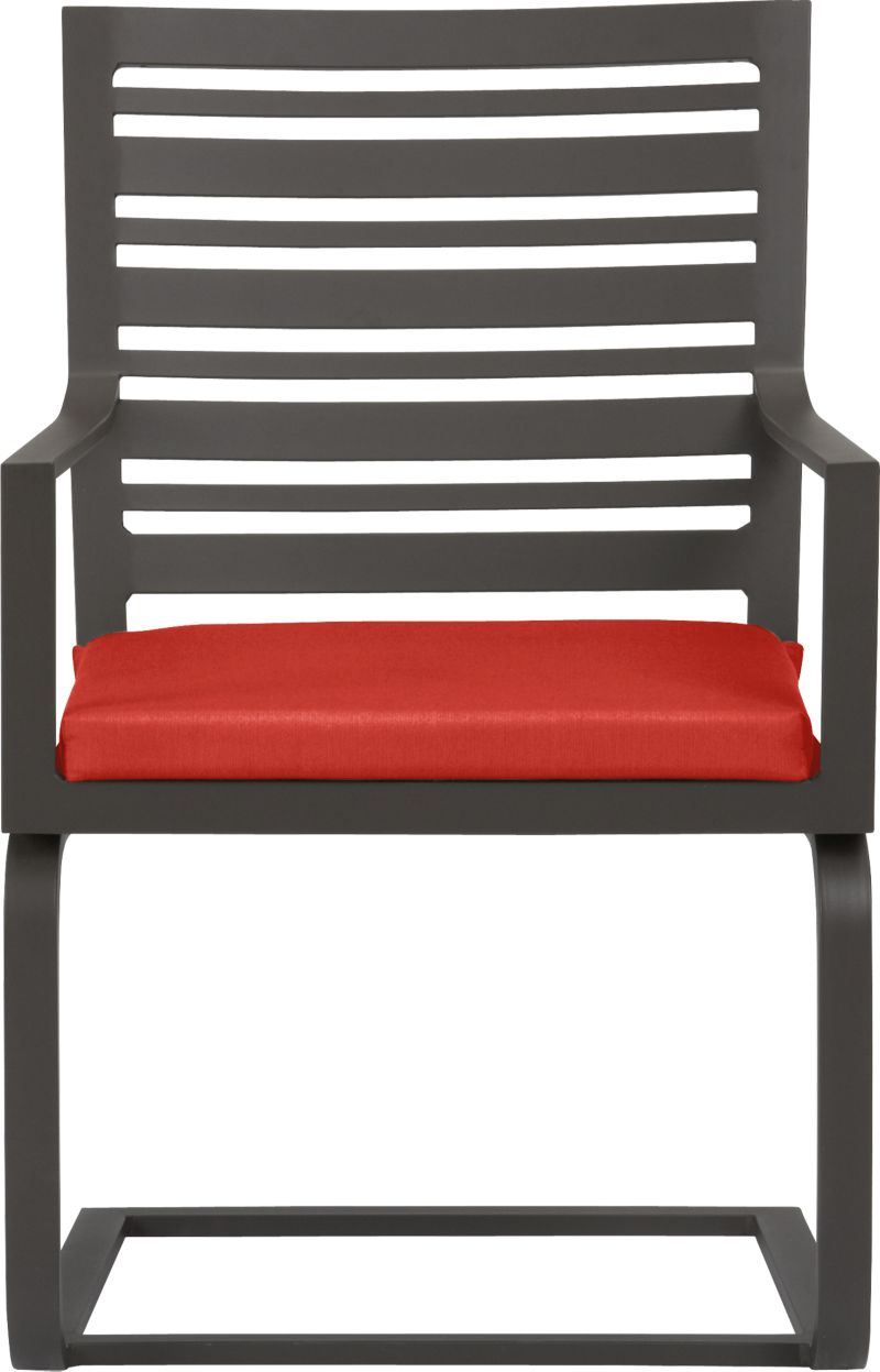 "Transitional seating for easy outdoor dining. Comfortable companion chair features a stylish design in durable yet lightweight extruded aluminum. Slatted back relaxes at a modern angle, inviting leisurely dining and conversation. Motion ""spring"" dining chair has a perfectly pitched back and spring base that gently rocks. Smooth, rustproof bronze powdercoat finish stands up to the elements. Cushion is covered in fade- and mildew-resistant Sunbrella acrylic in spicy caliente. Fabric tab fasteners hold cushion in place. Valencia lounge collection also available.<br /><ul><li>Rustproof extruded aluminum</li><li>Bronze powdercoat finish</li><li>Cushion cover is fade- and mildew-resistant Sunbrella acrylic</li><li>Polyfoam insert</li><li>Spot clean cushion</li></ul><NEWTAG/>"