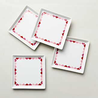 Set of 4 Valentine Plates