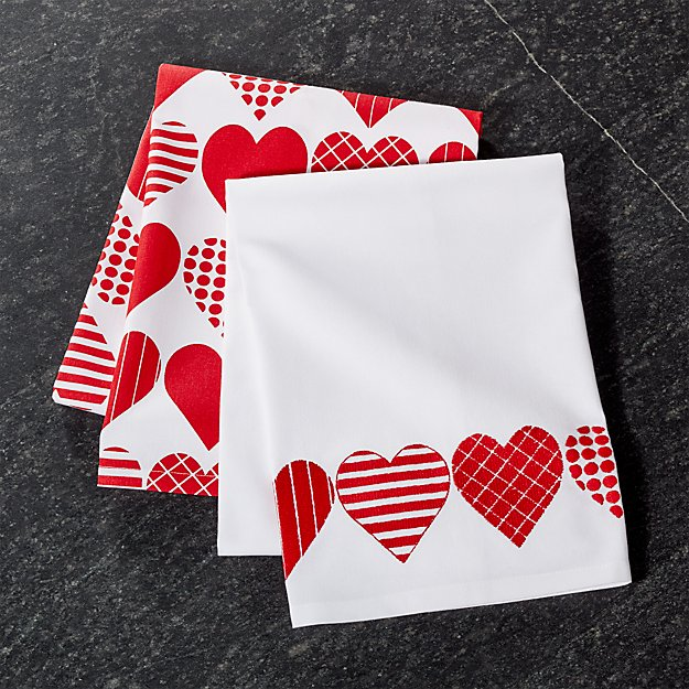 Valentine Red Hearts Dish Towel, Set of 2