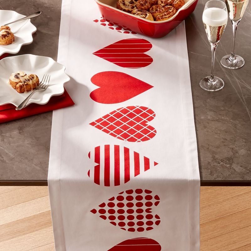 Red Hearts Valentine Table Runner