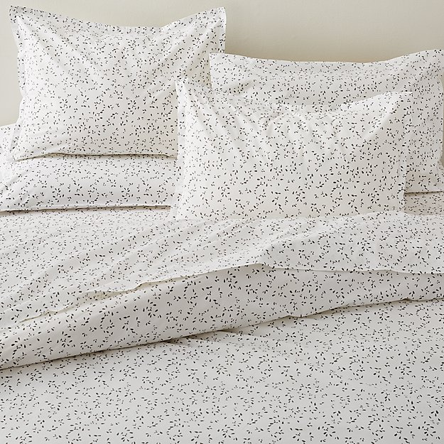 Valeta Grey Organic Full/Queen Printed Duvet Cover - Image 1 of 3