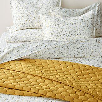 Valeta Yellow Organic Printed Duvet Covers and Pillow Shams