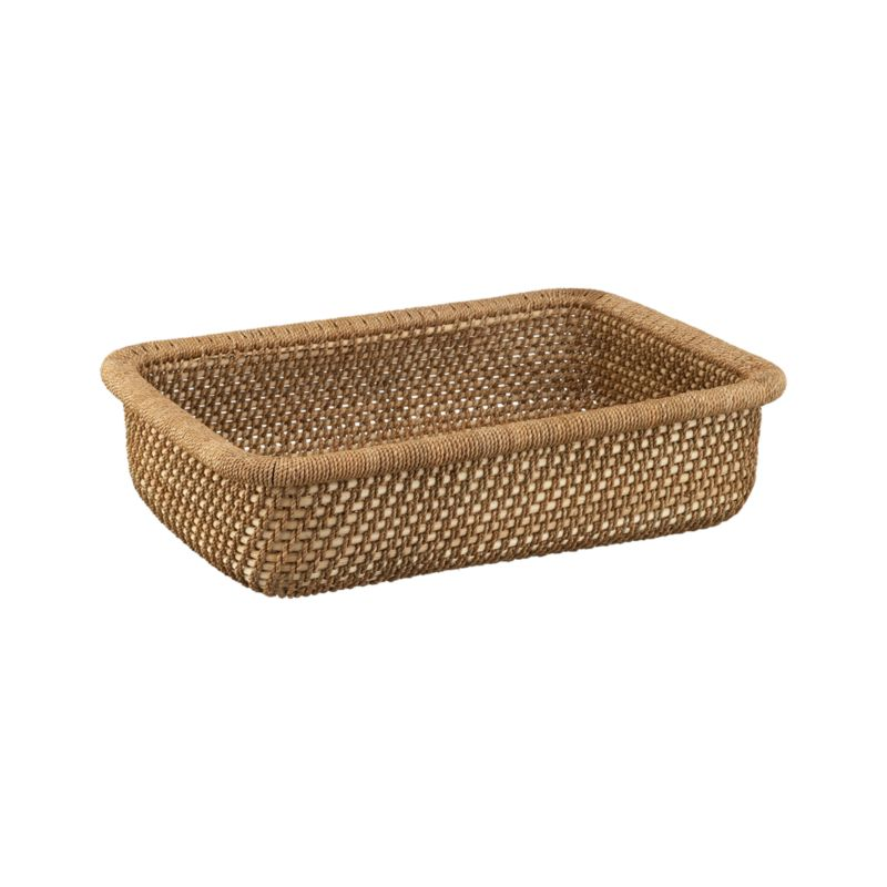 Capacious low basket makes short work of household clutter, stowing magazines and knitting projects in a warm, textural weave of handcrafted rattan and lampakanay fiber.<br /><br /><NEWTAG/><ul><li>Rattan and lampakanay fiber</li><li>Clear lacquer finish</li><li>Wipe with clean dry cloth</li><li>Made in The Philippines</li></ul>