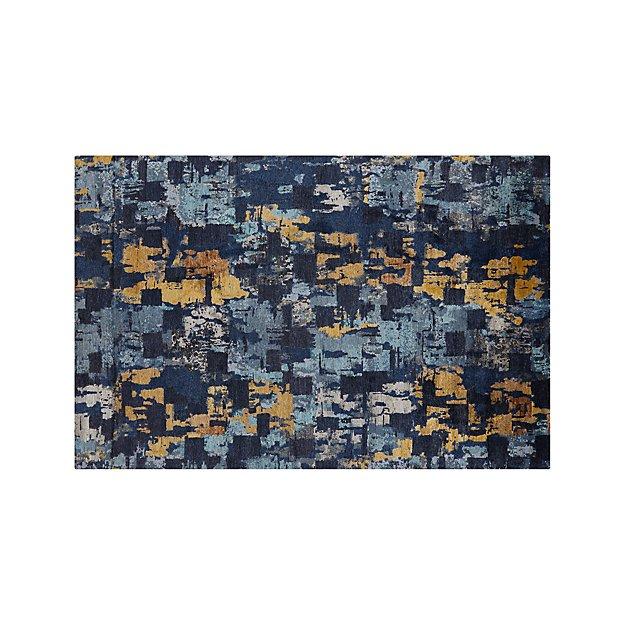 Vasari Indigo Blue Abstract Rug 6'x9' - Image 1 of 4