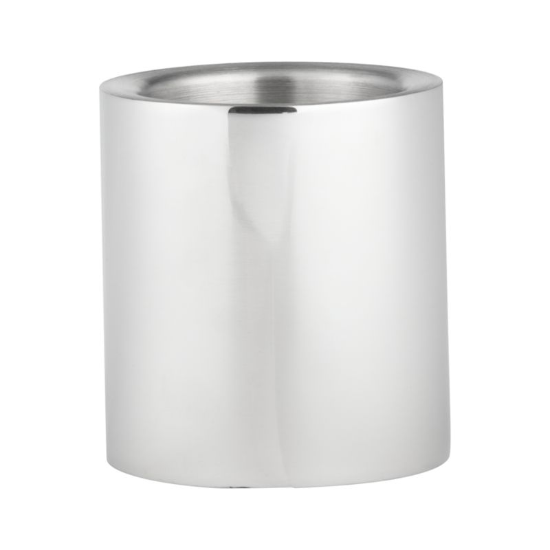"Dramatic cylinder of shiny stainless steel serves as a perch for pillars and mood-setting candlelight.<br /><br /><NEWTAG/><ul><li>Wipe with soft, dry cloth</li><li>Accommodates up to a 3"" pillar candle, sold separately</li><li>Made in India</li></ul>"
