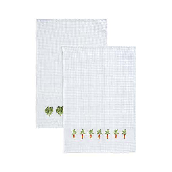 Set of 2 Vegetable Patch Dishtowels