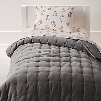 Velvet Dark Grey Toddler Bedding