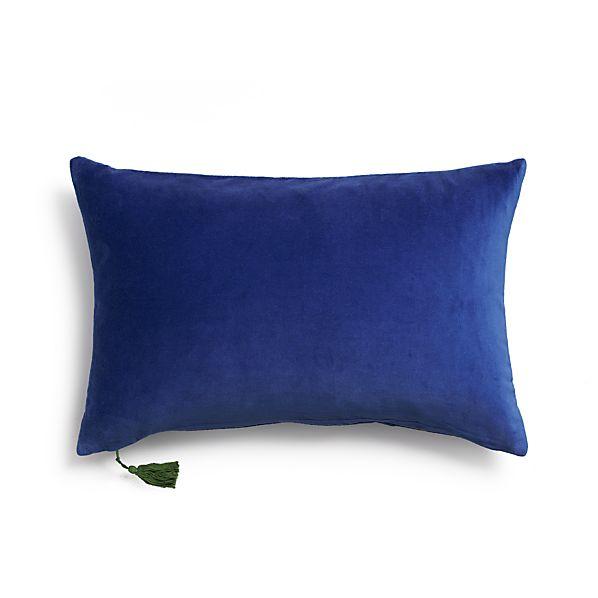 """Velvet Blue 24""""x16"""" Pillow with Down-Alternative Insert"""
