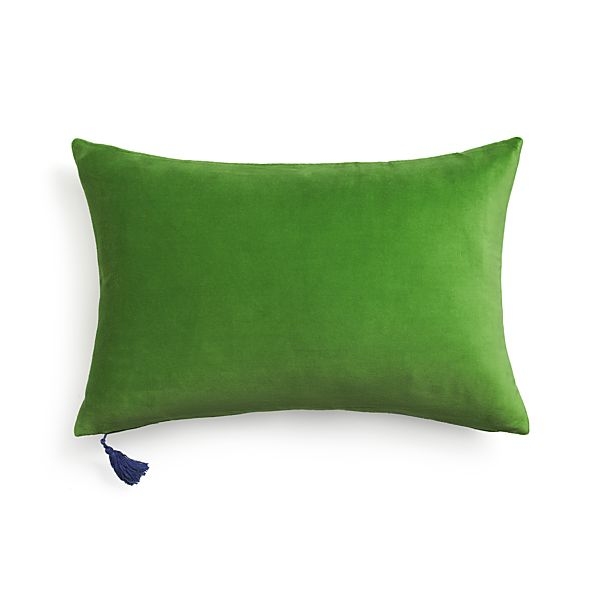 """Velvet Green 24""""x16"""" Pillow with Feather-Down Insert"""
