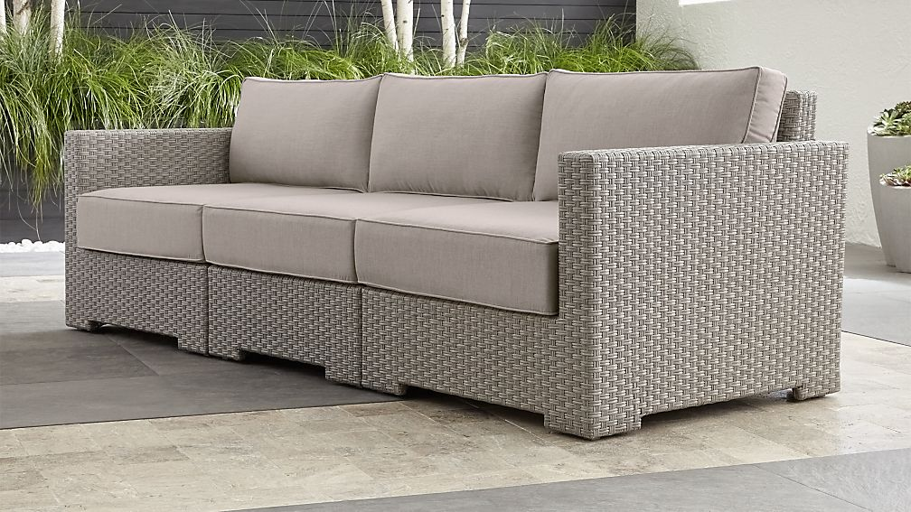 Ventura Quartz 3-Piece Sectional with Silver Sunbrella ® Cushions - Image 1 of 4