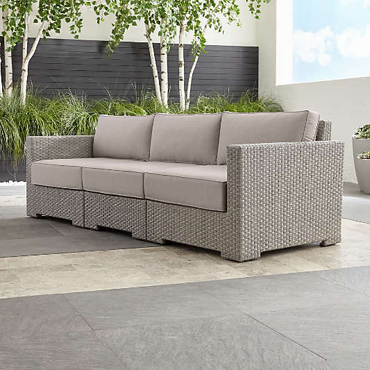 Ventura Quartz 3-Piece Sectional with Silver Sunbrella ® Cushions