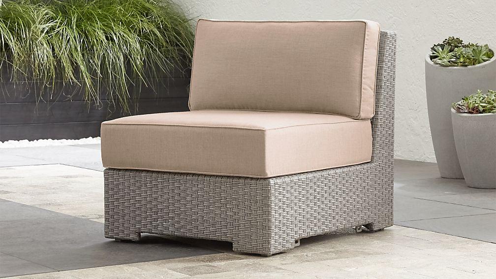 Ventura Quartz Modular Armless Chair with Stone Sunbrella ® Cushions - Image 1 of 5