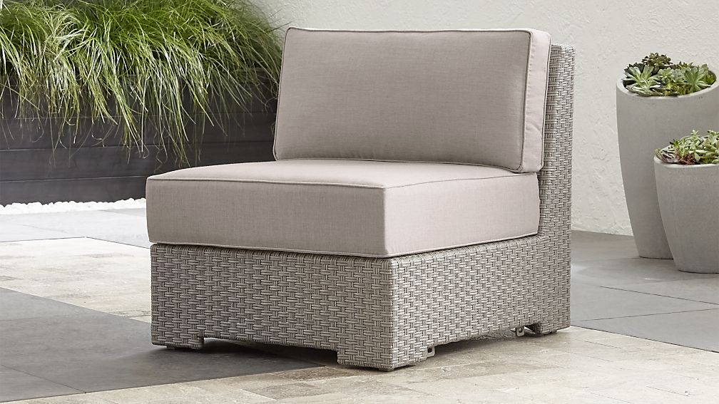 Ventura Quartz Modular Armless Chair with Silver Sunbrella ® Cushions - Image 1 of 7