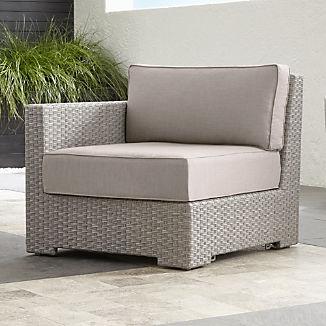 Ventura Quartz Modular Left Arm Chair with Silver Sunbrella ® Cushions