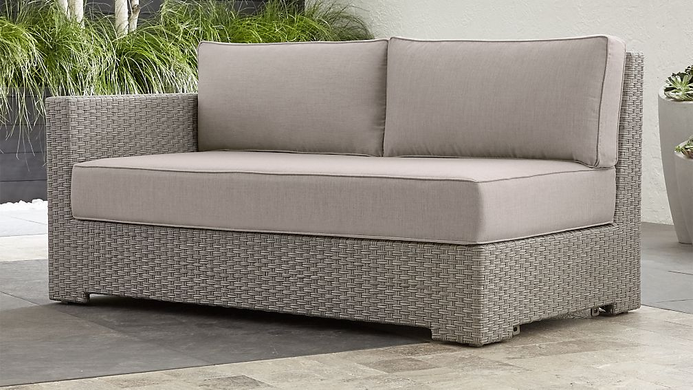Ventura Quartz Modular Left Arm Loveseat with Silver Sunbrella ® Cushions - Image 1 of 7