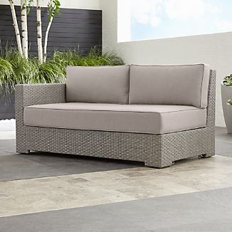 Ventura Quartz Modular Left Arm Loveseat with Sunbrella ® Cushions