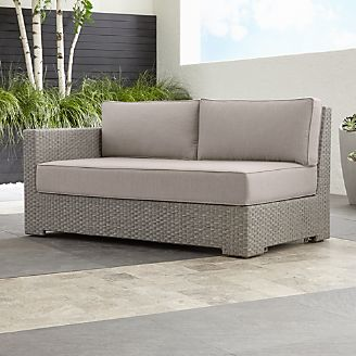 ventura quartz modular left arm loveseat with sunbrella cushions - Resin Wicker Patio Furniture