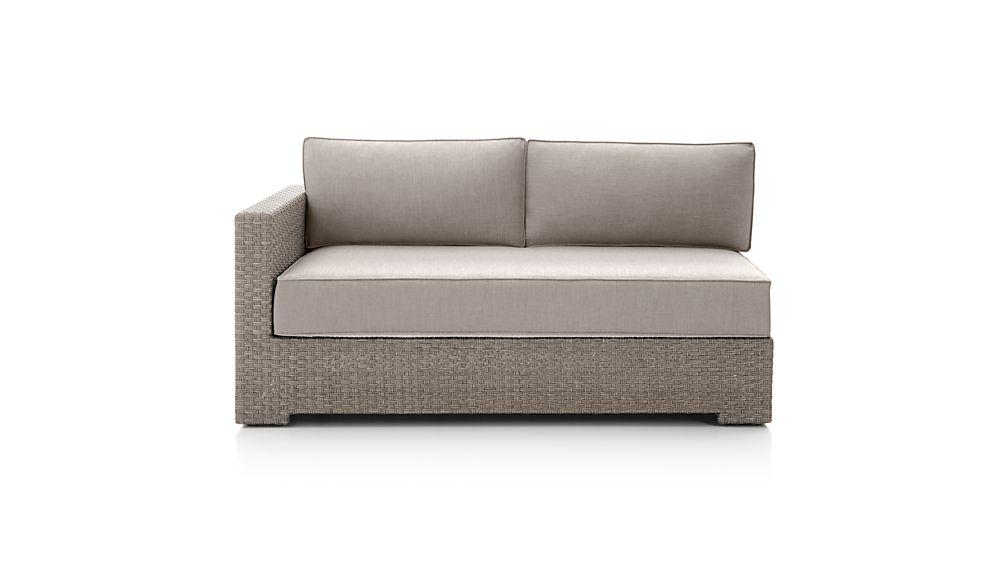 Ventura Quartz Modular Left Arm Loveseat with Sunbrella ® Cushions