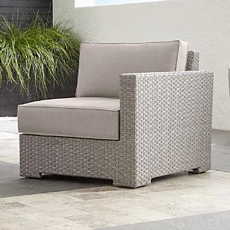 Ventura Quartz Modular Right Arm Chair with Silver Sunbrella ® Cushions