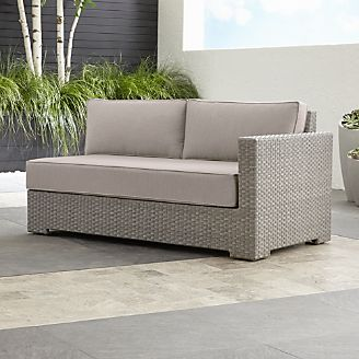 ventura quartz modular right arm loveseat with sunbrella cushions - Resin Wicker Patio Furniture