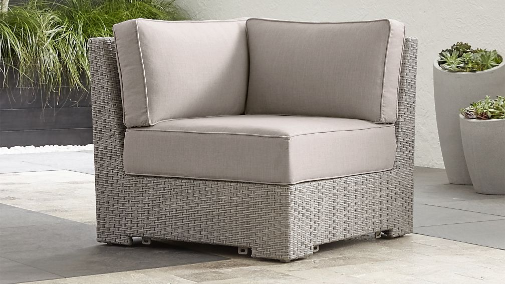 Ventura Quartz Modular Corner with Silver Sunbrella ® Cushions - Image 1 of 6