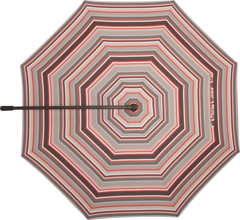 A smart canopy of stripes thick and thin in caliente, stone, natural and chocolate umbrella cover of Sunbrella® acrylic fabric blocks out 98% of the sun's UV rays. Fits our 10' Round Bronze Free-Arm Umbrella Frame with Base (sold separately).<br /><ul><li>Fade- and mildew-resistant Sunbrella acrylic</li></ul><NEWTAG/>