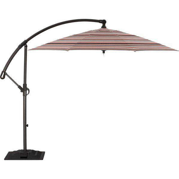 10' Round Sunbrella ® Valencia Stripe Free-Arm Umbrella with Base
