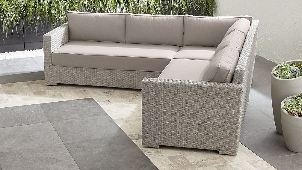 Ventura Quartz 3-Piece Loveseat Sectional with Silver Sunbrella ® Cushions - Image 1 of 2