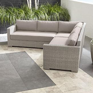 Ventura Quartz 3-Piece Loveseat Sectional with Silver Sunbrella ® Cushions