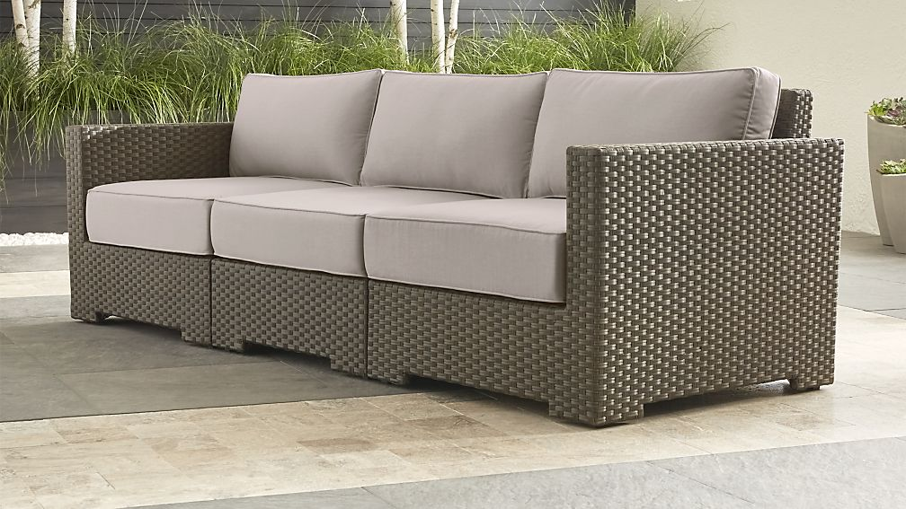Ventura Umber Sectional With Grey Outdoor Cushions