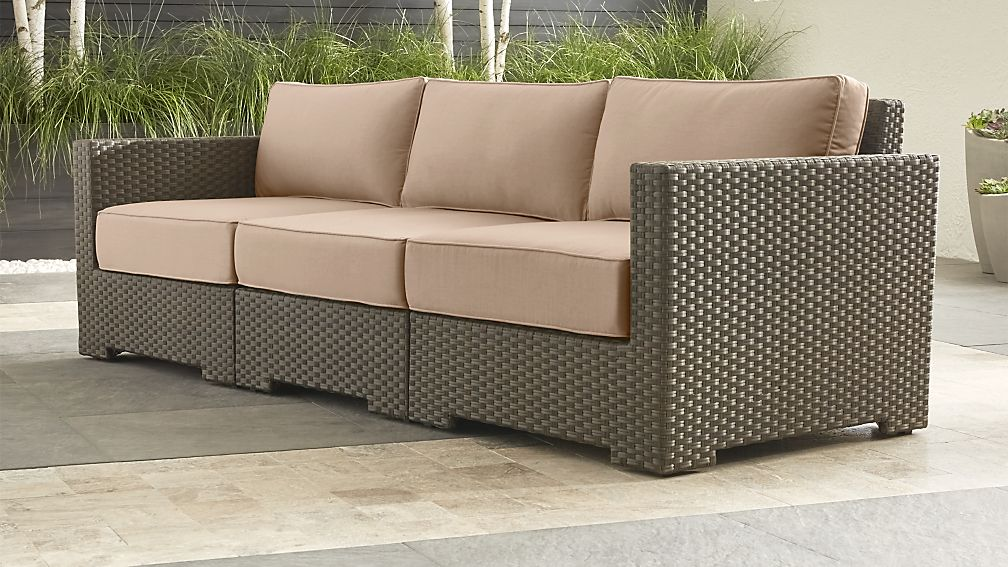Ventura Umber Sectional With Tan Outdoor Cushions Reviews Crate