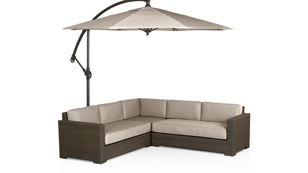 Ventura Umber 3-Piece Loveseat Sectional with Sunbrella ® Cushions