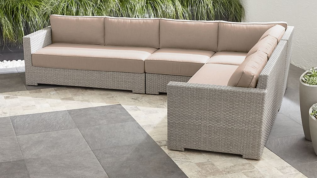 Ventura Quartz 4 Piece Loveseat Sectional with Sunbrella